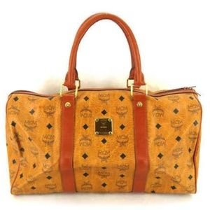 MCM Cognac Monogram Visetos Boston Duffle 235574